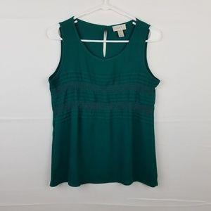 LOFT Green Sleeveless Blouse Size XS Lace Detail